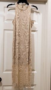 Tan lace summer dress